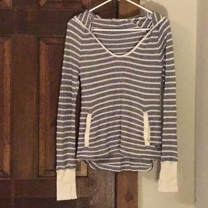 Roxy blue and white LS striped hoodie, pocket,  XS